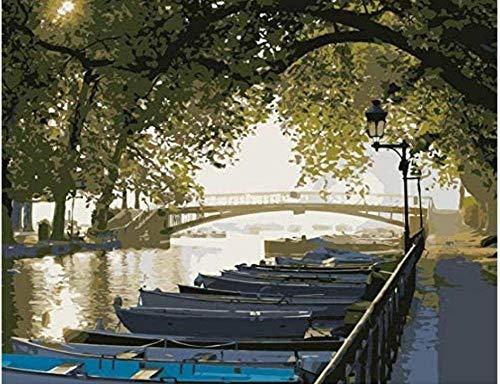 Diy boten langs het kanaal van Venetië Schilderen op nummer Landschap voor woonkamer Muur 40X50Cm Frameloos