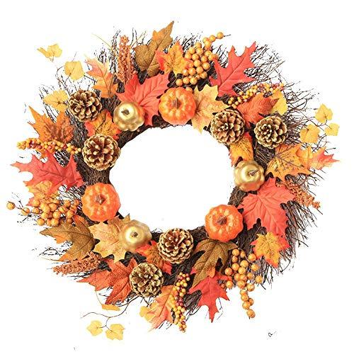 Guirnalda decorativa de Acción de Gracias, corona de puerta de arce artificial, corona de calabaza decorada para Navidad, Acción de Gracias