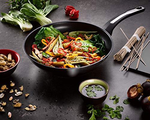 Tefal Emotion - Sartén wok 28 cm, revestimiento antiadherente, difusión de calor homogénea, diseño elegante, mango resistente, inducción, indicador de cocción E3001904