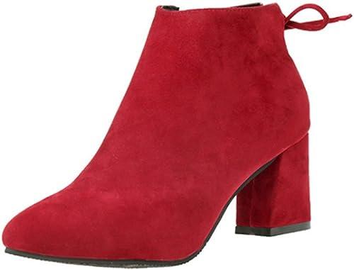 BAINASIQI Damen Stiefeletten, Elegant Ankle Stiefel Blockabsatz Chelsea Stiefel Casual Kurzschaft Stiefel Einfarbig