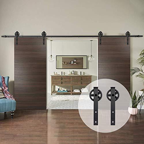 AMC Funiture - Kit de herrajes para puerta corredera de madera de granero de 5 pies suave y silencioso, fácil de instalar para puertas dobles, estilo de rueda grande (5 pies)