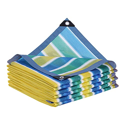 SUNDAY HOME Netificación de Tela de Malla de Sombra a Rayas para pérgola/Patio/Panel de Sombra de jardín, 85% de Tela de Sombra con Ojales, Azul y Blanco y Verde y Amarillo (Size : 2m×5m)