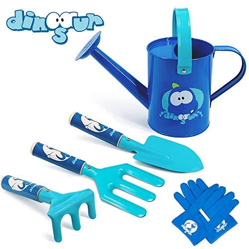 Colwelt Kinder-Garten-Set, 5-teilig, niedliche Metall-Gartenwerkzeuge für Kinder, inklusive Metall-Gießkanne, Holzgriff, Kelle, Gabel, Rechen, Handschuhe, Kinder-Gartengeräte (blau)