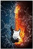 Wallario Poster - Feuer-Wasser-Gitarre in Premiumqualität,