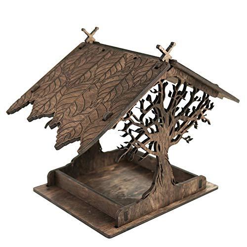 Vogelfutterhaus Holzhaus, Holz Vogelfutterhaus Holzhaus, Vogelhaus Holz Vogelfutterhaus Holzhaus, Vogelhaus zum Aufhängen im Garten und Balkon Hof Villa Balkon Vogelhäuschen (C)