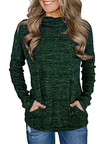 AIMICO Womens Cowl Neck Sweatshirts Long Sleeve Casual Loose Fit Solid Pullover Tops