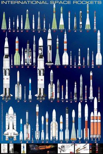 Educational - Bildung Raketen - International Space Rockets Bildungsposter Plakat Druck - Maxiposter Version in Englisch - Grösse 61x91,5 cm