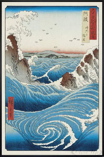 Close Up Hiroshige Naruto Whirlpool Poster (93x62 cm) gerahmt in: Rahmen schwarz