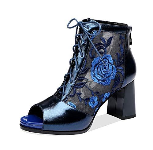 [CHICULL] チカル レディース サマーブーツ レースアップ ショートブーツ 本革 花 刺繍 メッシュ オープントゥ サンダル 編み上げ バックジッパー 夏 ブーティ チャンキーヒール ブーツ 靴 美脚 8cm 太ヒール 牛革 レザー 婦人靴 ブルー 23.5cm
