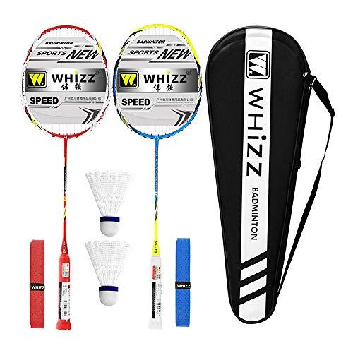 Whizz Kratzfestes Design Carbon Badminton Set Schläger Racket Ultraleicht Graphit 2 STK mit Schlägertasche & 2 Griffbänder (Y5Y6 Rot+Blau)