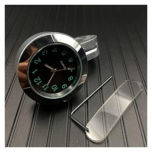 shiqi オートバイハンドルバーハンドグリップバーマウントダイヤル時計時計防水モーターバイクデジタルクロックオートバイアクセサリー (Color : Silver)