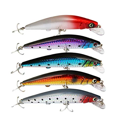 UNCTAD 5 Piezas Señuelos Pesca biónicos Luminosos - Impermeable Señuelos Pesca Cebo - Carga rápida USB Señuelo de Pesca - para señuelos Luminosos, Accesorios de Pesca Ideales(100 Gramos)