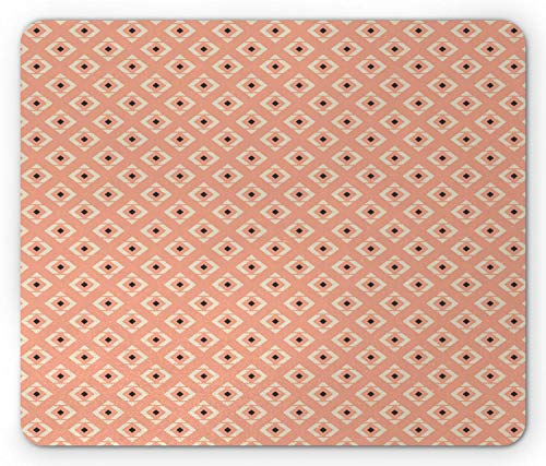 Abstracte muismat, ritmische print van geometrische ruit in gedempte tinten, rechthoek muismat Peach Champagne