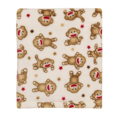 Baby Starters Super Soft Sock Monkey Baby Blanket for Newborns and New Moms (Ivory and Red, 30'x40')