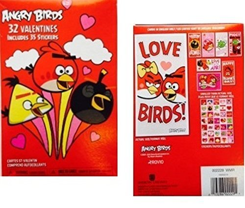 32 Angry Bird Valentines 35 Stickers by rovio