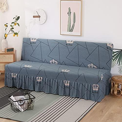 DGSGBAS con Falda Futón Couch Sin Brazos,3/2 Plazas Funda Clic Clac 160cm Marron Azul Cubre Sofa Cama Sin Brazos Estampada Funda de Cubre Sofá Sin Reposabrazos Protector para Sofa