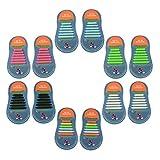 Yuccer Lacets Elastiques Enfant, 6 Paquets Silicone Imperméable Lacets magiques No Tie Lacets pour Chaussures (6 Paquets)