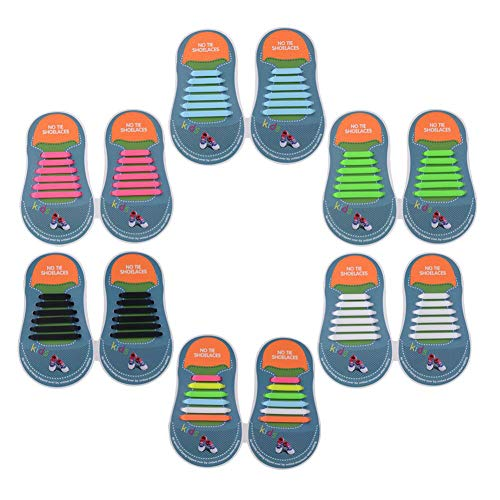 Yuccer Lacci Elastici per Scarpe Bambini, 6 Pacchi Lacci in Gomma Impermeabili in Silicone Stringhe Elastiche (6 Pacchi)