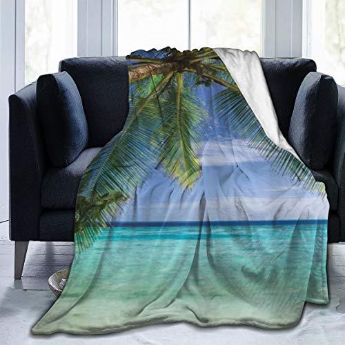 keiou Comoda Coperta di Flanella Sottile,Vista del Paradiso Tropicale dell'Oceano alle Maldive con L'Immagine Chiara della Spiaggia di Palme,Coperta per condizionatore d'Aria 40'x50'