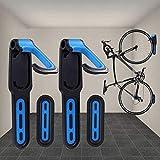 BESTINE Soporte para Bicicletas Montado en la Pared, 2 Soportes Verticales para Bicicletas Recubiertos de Goma, Gancho Organizador para Colgar Ciclos de Alta Tesistencia con Tornillos (Blue)