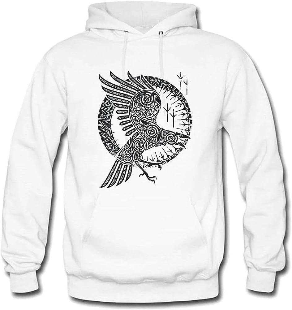 Viking Raven Hoodies Pullover Men's Cotton Fleece Warm Hooded Sweatshirt Sportswear Male Clothing