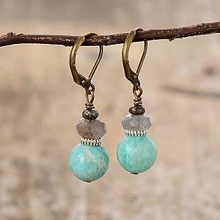 Amazonite Labradorite Stone Earrings   Elegant Vintage Natural Stone Earrings   Russian Amazonite Earrings   Natural Labradorite Dangling Stone Earrings   Xmas Gift Ideas