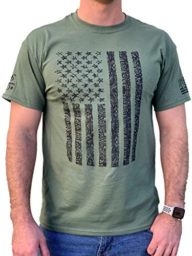 Country Life Tribal American Flag Military Green Mens T-Shirt (Small)