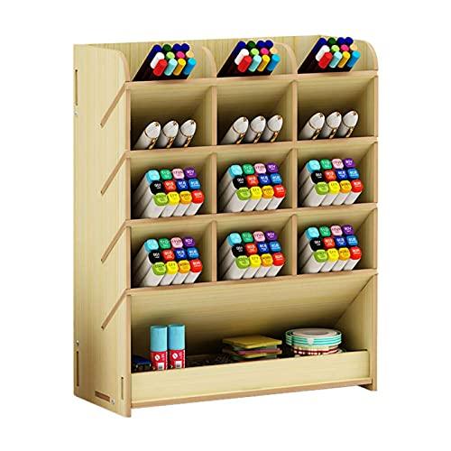 Organizador de pluma de madera, multifuncional BRICOLAJE Caja con titular de la pluma, Easy Monts, Rack de almacenamiento estacionario para el hogar, Oficina y Escuela // 250 (Color : White Maple)