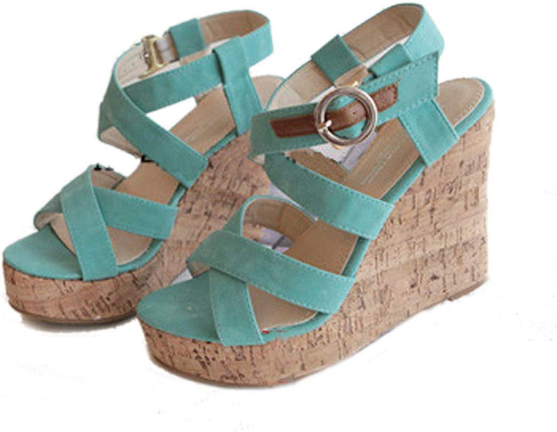 MEIZOKEN Women's Strappy Wedges Platform Sandal Crisscross Ankle Strap Open Toe Slip On Summer Gladiator Sandals