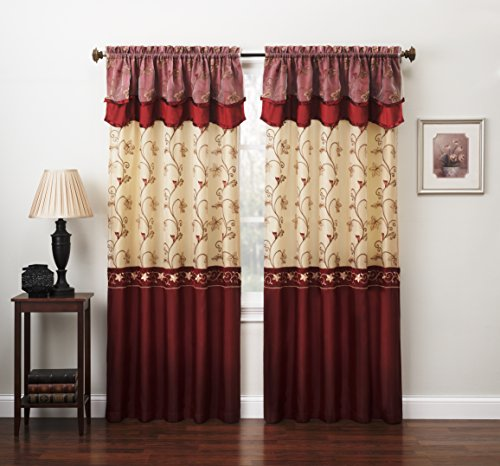 """Fancy Collection Embroidery Curtain Set 2 Panel Drapes with Backing & Valance (110""""x 84"""", Burgundy)"""