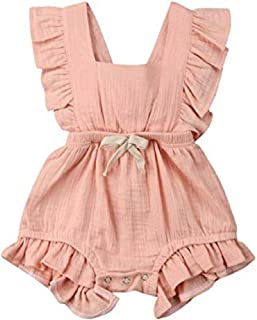 Romper for Baby, One Piece Cotton Flutter Sleeve Bodysuit for Newborn, Baby, Toddler