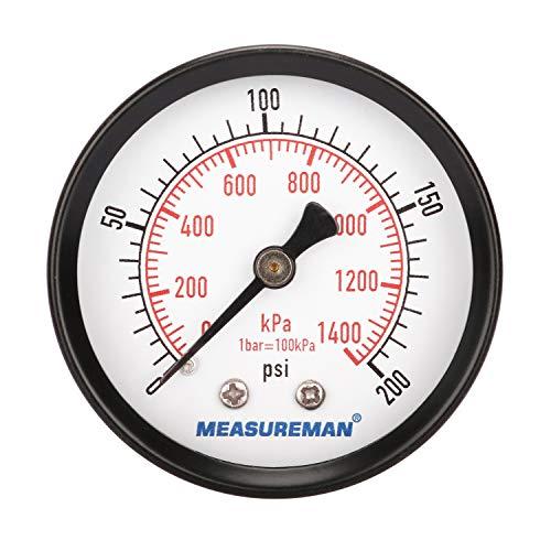 Measureman Economic Dry Pressure Gauge Air Compressor Pressure Gauge, 2' Dial Size, 1/4'NPT Center Back Mount, 0-200psi/kpa