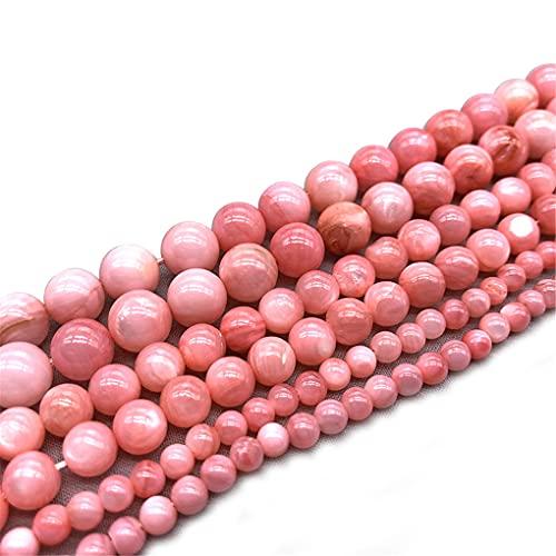 Cuentas de concha de color rosa natural que brillan en forma de espaciador redondo y sueltas de 4/6/8 mm, para hacer joyas, color rosa de 4 mm aprox. 93 cuentas