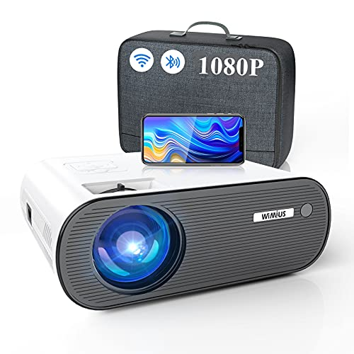 """WiFi Bluetooth Projector, WiMiUS Upgrade K5 Mini Projector with Carry Bag, Full HD 1080P & 300"""", Portable Projector for TV Stick Home Movie Video Game HDMI AUX AV PS4 iOS Android"""