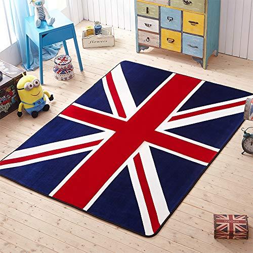 Lily&her friends - Tapis de sol antidérapant en velours avec drapeau britannique Union Jack - Pour canapé, lit, placard, table basse, chaise, salon, chambre, cuisine, décoration (60 x 90 cm)