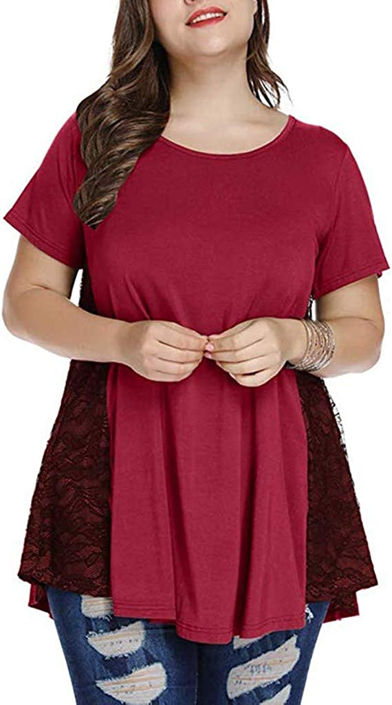 Forwelly Women Plus Size Clothing Short Sleeve Lace Patchwork Round Neck Shirt Ladies Casual Tunic Tops Blouse