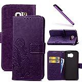 COTDINFOR Galaxy S6 Funda trébol Cierre Magnético Billetera con Tapa para Tarjetas de Cárcasa Elegante Retro Suave PU Cuero Caso Protectora Case para Samsung Galaxy S6 Clover Purple SD
