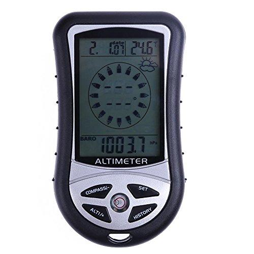 Elektronischer 8in 1 Handkompass von Everpert, mit Höhenmesser, Barometer, Thermometer, Wettervorhersage und Zeitanzeige