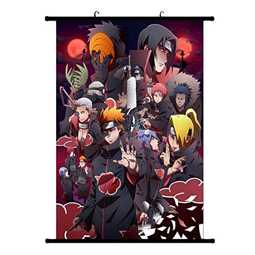 Juice-ma Naruto - Póster de tela para desfile de pared, diseño de personajes de Uchiha Itachi Sasuke con pergamino de pared, decoración – Estilo 1-2, 20 x 30 cm