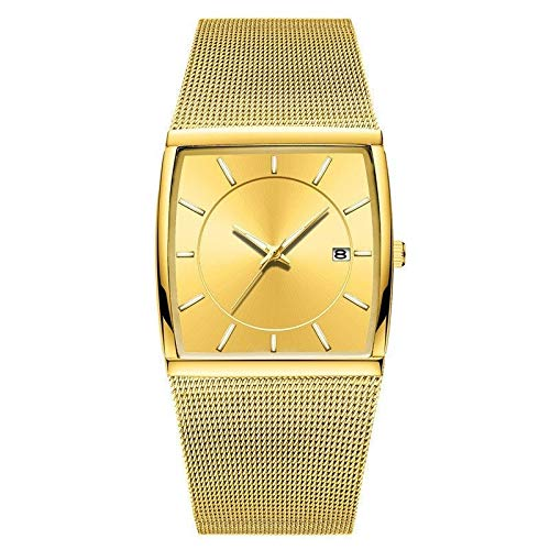 Haoooan Jungs Uhren Golden Quartz Uhren Männer Top Luxus Quadratmeter Mesh-Steel Business-Armbanduhr Wasserdicht Male Uhr (Color : Gold)