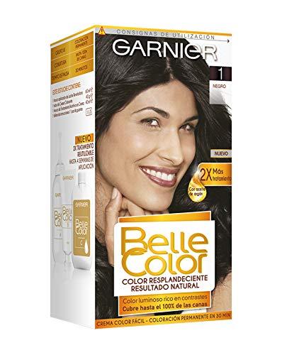 Garnier Belle Color Coloración de aspecto natural y cobertura completa de canas con aceite de germen de trigo - Negro 1, Paquete de 3