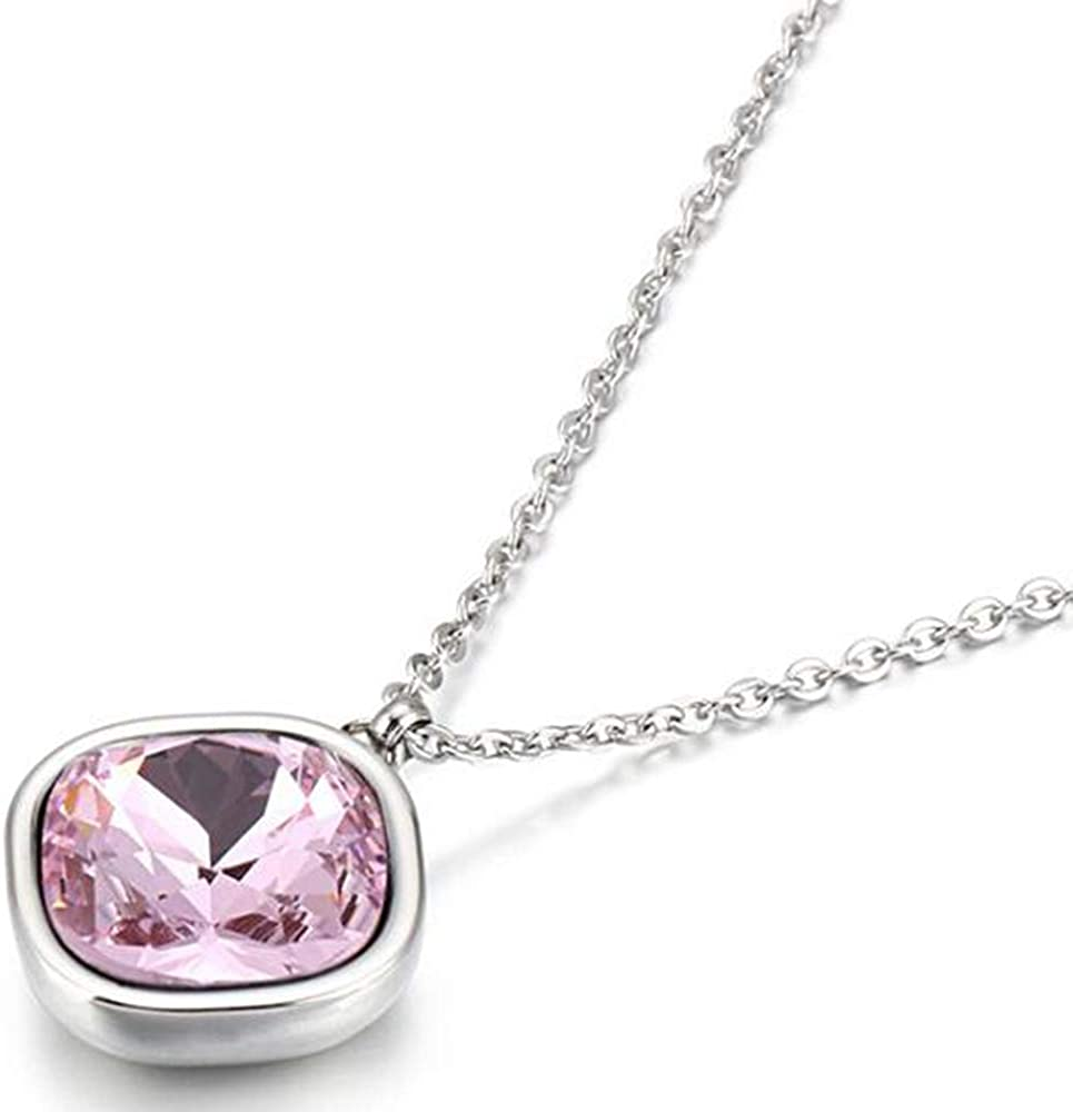 Jude Jewelers Stainless Steel Austrian Crystal Square Charm Collar Statement Necklace