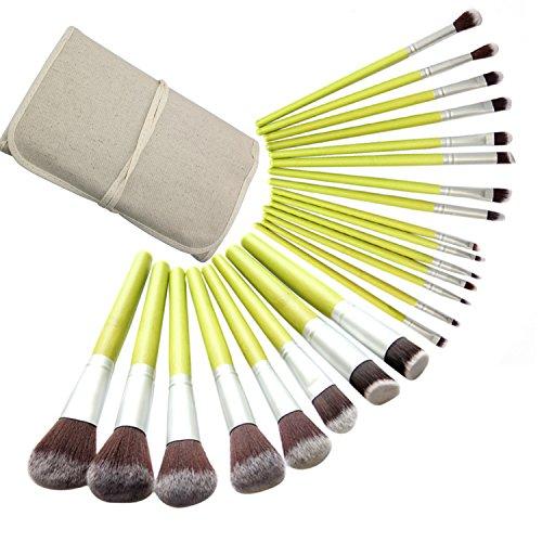 Lover Bar - Set de 23 pinceaux professionnels vegan en bambou, parfaits pour appliquer la poudre, le correcteur ou le fond de teint + pochette de voyage