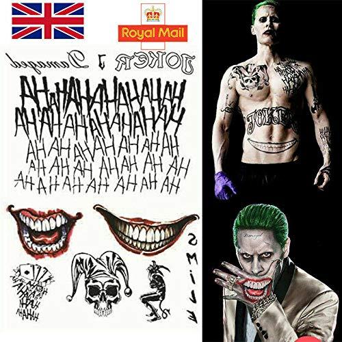 Disfraz de Batman, el Joker, tatuajes temporales para fiesta de Halloween, disfraz de escuadrn suicida