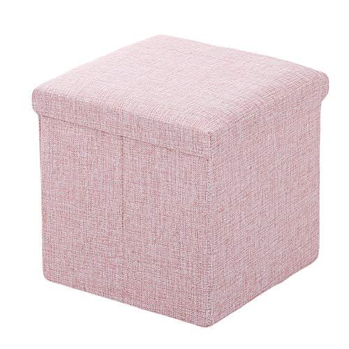 Ommda Polsterhocker Sitzhocker Sitzwürfel Wohnzimmer Couch mit Stauraum Klein Leinen Bezug Fußhocker Gepolstert belastbar bis 200 kg Rosa 38x38x38cm