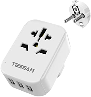 UK to European Plug Adapter with 3 USB Ports - TESSAN Europe Travel Adaptor Plug, Grounded 4 in 1 Euro EU Power Plug Adapt...