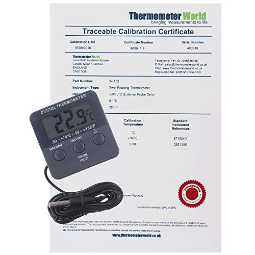 Termómetro digital calibrado para frigorífico y congelador con certificado de calibración rastreable de 2 puntos