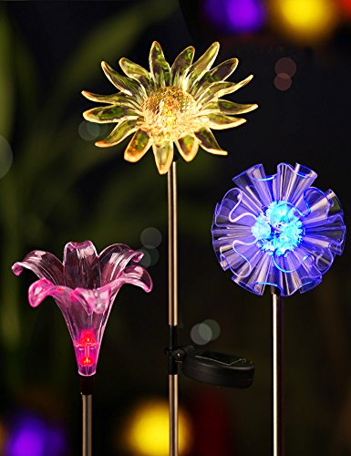 Bright Zeal Solar Stake Lights, Life-Size Figurines LED, [Set of 3] Dandelion & Lily & Sunflower-Color Changing