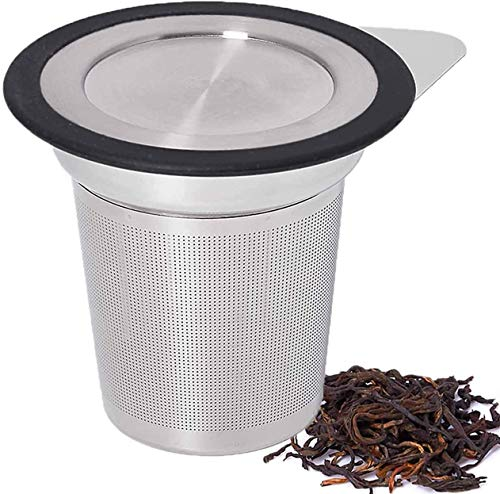 Tea Infuser, Nurch Tea Infuser 304 Stainless Steel Extra Fine Mesh Tea Strainer Steeper Filter Lid with Heat Resist Silicone Ring with Handle for Loose Leaf Grain Tea Cups, Mugs, and Pots
