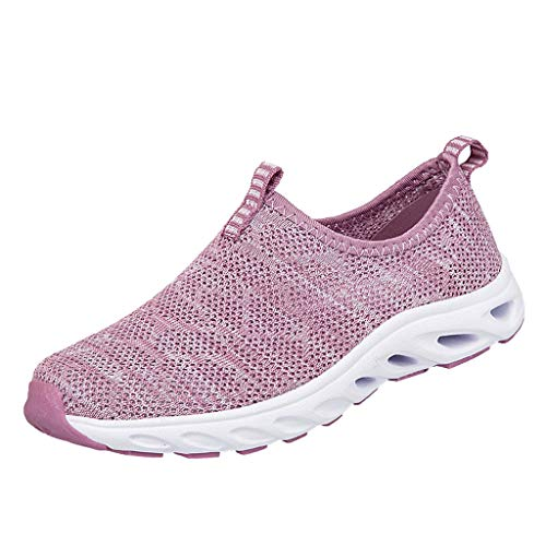 WOZOW Couples Women's Breathable Mesh Shoes Middle and Slip-on Running Femme Baskets en Mousse Mémoire Léger Sneaker Chaussures De Course(Rose,38)